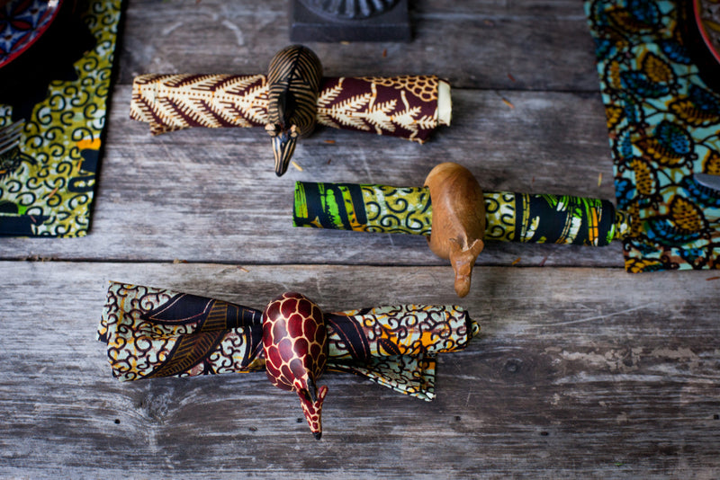 Wooden Animal Napkin Rings Set - Kenyan materials and design for a fair trade boutique
