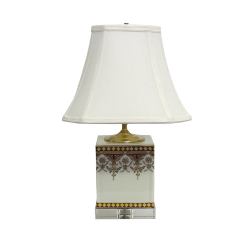 1-light Cavalier White/ Red Porcelain Box Lamp
