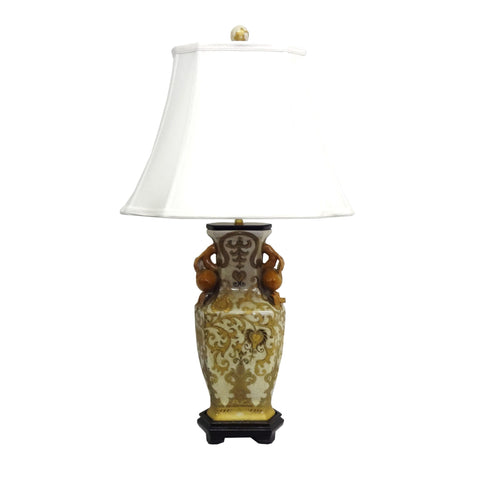 1-light Cream/ Gold Scrolls Porcelain Table Lamp