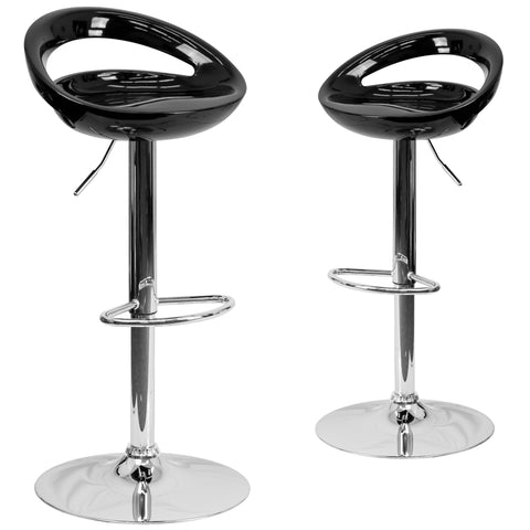 2 Pk. Contemporary Plastic Adjustable Height Barstool with Chrome Base