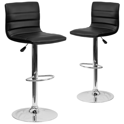 "2 Pk. Contemporary Vinyl Adjustable Height Barstool with Chrome Base - 16""W x 19\""D x 35\"" - 44\""H"