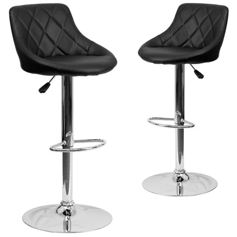 "2 Pk. Contemporary Vinyl Bucket Seat Adjustable Height Barstool with Chrome Base - 18.50""W x 19\""D x 33.25\"" - 41.75\""H"