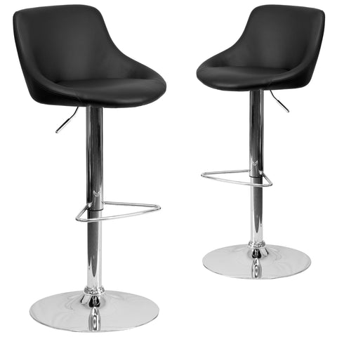 2 Pk. Contemporary Vinyl Bucket Seat Adjustable Height Barstool with Chrome Base