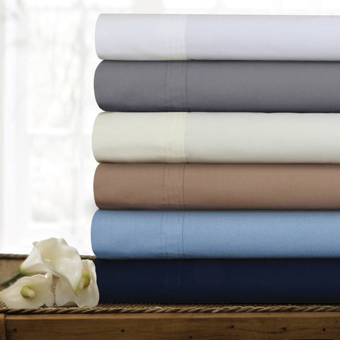 300 TC Cotton Percale Extra Deep Pocket Sheet Set with Oversize Flat