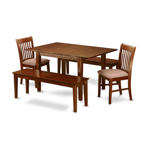 5-piece Small Mahogany Table with 2 Chairs and 2 Dining Benches