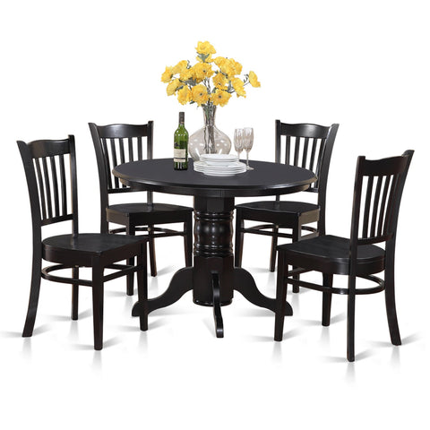 5-piece Small Round Table and 4 Dining Chairs