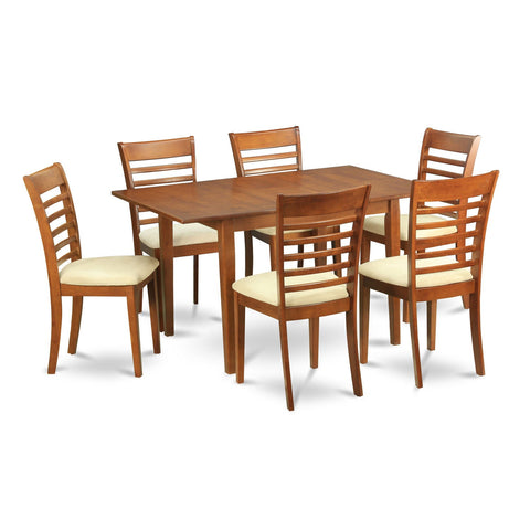 7-piece Breakfast Nook and 6 Dining Chairs in Brown