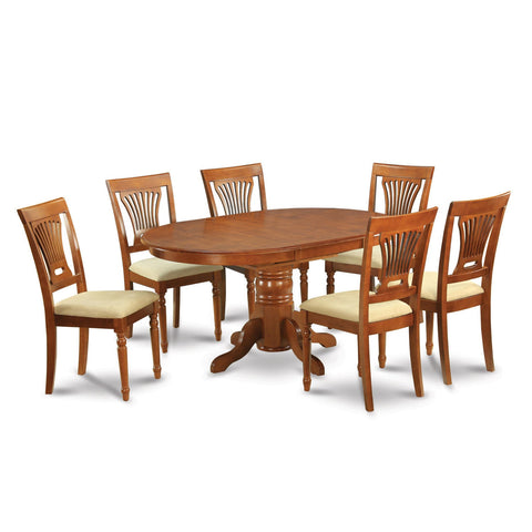 7-piece Oval Dinette Table with Leaf and 6 Dining Chairs