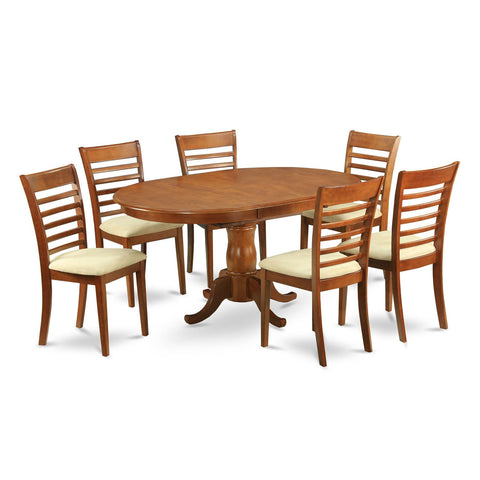 7-piece Oval Dining Table with Leaf with 6 Dining Chairs