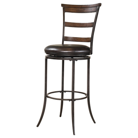 'Cameron' Chestnut Brown and Dark Grey Ladderback Stool