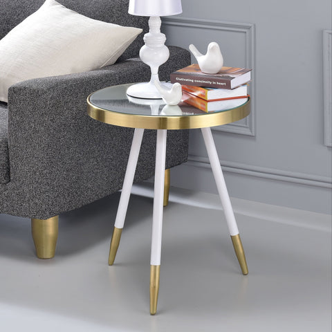 ACME Mazon End Table in Smoky Mirror, Antique Brass and White