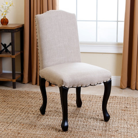 Abbyson Lorraine Natural Nailhead-trim Upholstered Dining Chair
