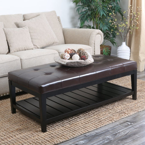 Abbyson Manchester Tufted Leather Coffee Table Ottoman