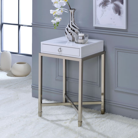 Acme Furniture Belinut Metal and Wood End Table
