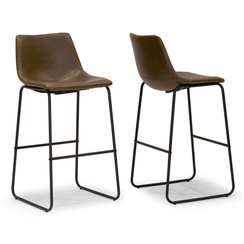 Adan Faux Leather Iron Frame Bar Stool (Set of 2)