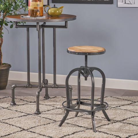Adjustable 26-inch Natural Fir Wood Finish Bar Stool by Christopher Knight Home - N/A