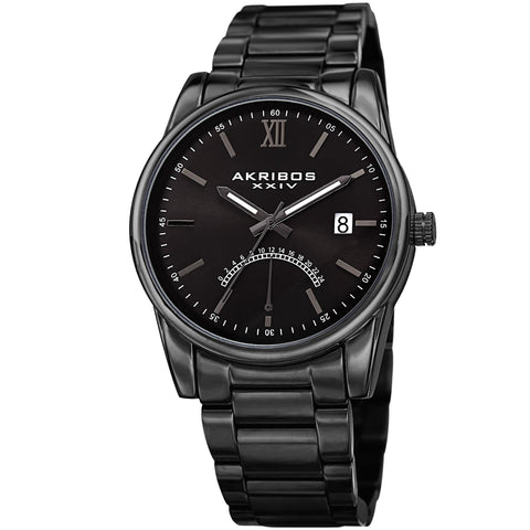 Akribos XXIV Men's Quartz Retrograde Stainless Steel Black Bracelet Watch