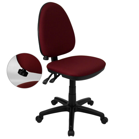 Amalan Burgundy/Black Fabric/Metal/Nylon Multi Functional Swivel Armless Office Chair with Adjustable Lumbar Support - Burgundy