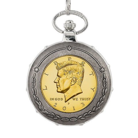 American Coin Treasures Gold-Plated JFK Half Dollar Silvertone Train Pocket Watch