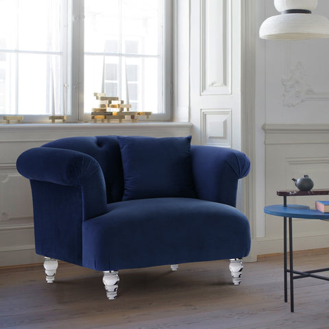 Armen Living Elegance Sofa Chair in Velvet with Acrylic Legs