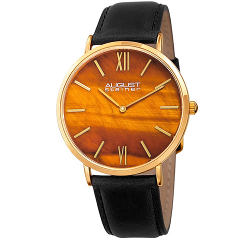 August Steiner Men's Quartz Easy-to-Read Gold-Tone Leather Strap Watch