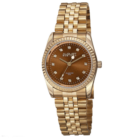 August Steiner Women's Quartz Diamond Markers Stainless Steel Bracelet Watch
