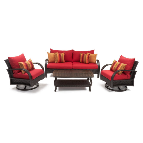 Barcelo 4 piece Motion Club and Sofa Set in Sunset Red by RST Brands