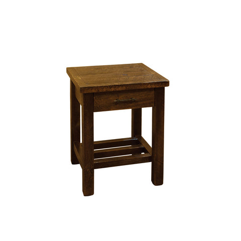 Barnwood Style Timber Peg - 1 Drawer Nightstand/End Table