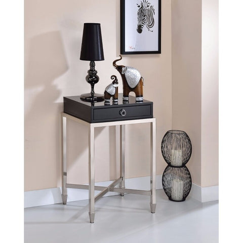 Belinut End Table With 1 Drawer, Black & Brushed Nickel