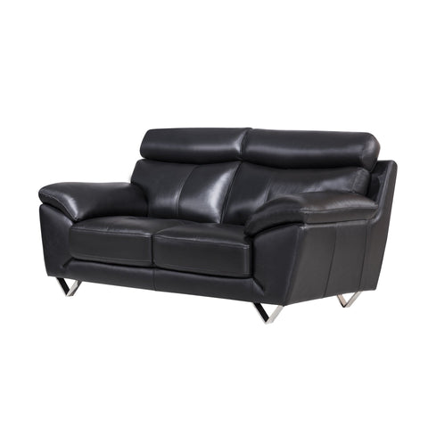 Black Italian Leather Loveseat