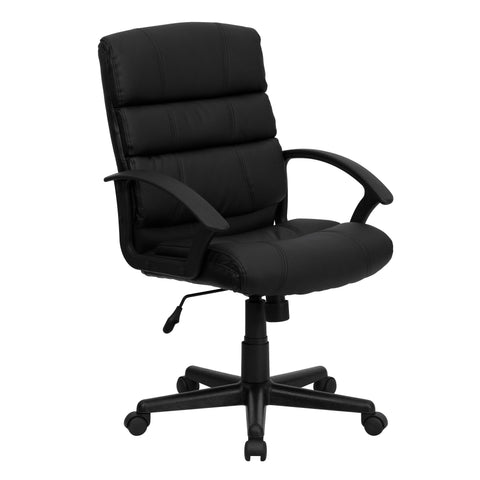 Black Mid-back Leather Office Chair