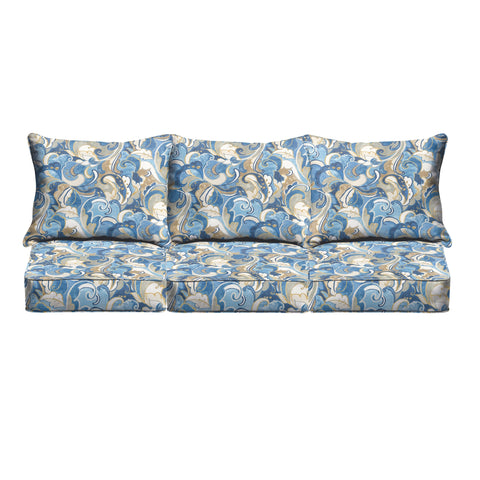 "Blue Grey Abstract Indoor/ Outdoor Corded Sofa Cushion Set - 69"" x 25\"""