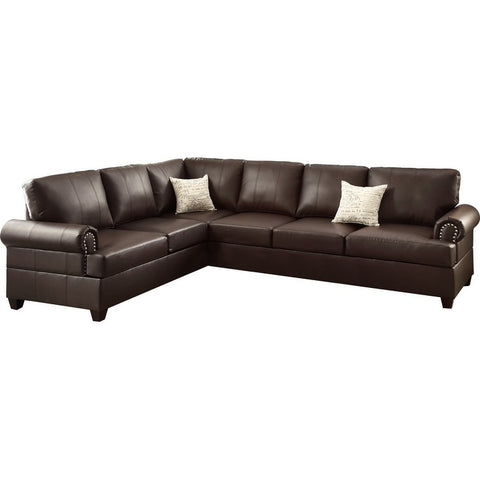 Bobkona Cady Bonded Leather Left or Right Hand Reversible Sofa and Chaise, Ottoman Not Included