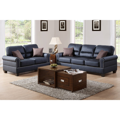 Bobkona Shelton Leather 2-piece Sofa and Loveseat Set