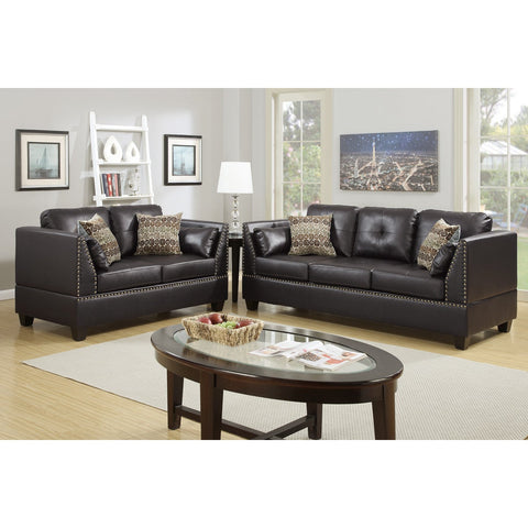 Bobkona Zenda 2 Piece Sofa and Loveseat Set