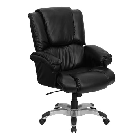 Bowers Black Leather Overstuffed Executive Adjustable Swivel Office Chair