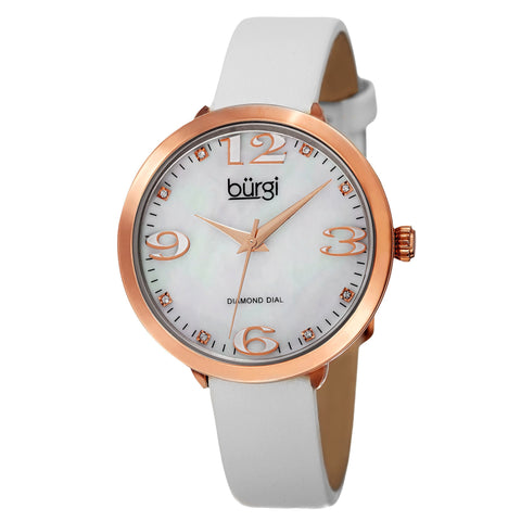 Burgi Classic Women's Quartz Diamond Markers Leather White Strap Watch