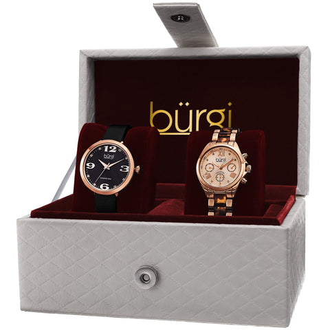 Burgi Classic Women's Quartz Multifunction Diamond Rose-Tone Strap/Bracelet Watch Set - Gold