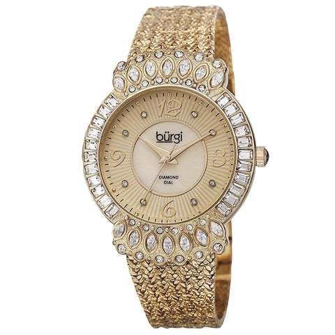 Burgi Exquisite Women's Quartz Diamond Gold-Tone Bracelet Watch