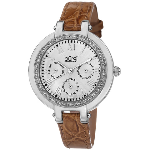 Burgi Women's Crystal-Accented Quartz Multifunction Leather Orange Strap Watch