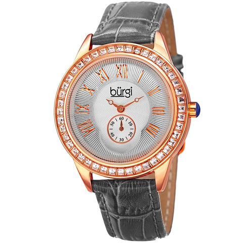 Burgi Women's Crystal Leather Strap Gray and Rosegold tone Watch - grey