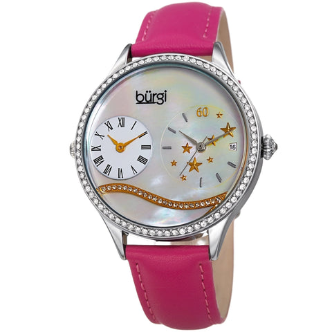 Burgi Women's Crystal Wave Dual Time Pink Leather Strap Watch