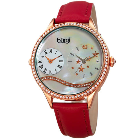 Burgi Women's Crystal Wave Dual Time Red Leather Strap Watch