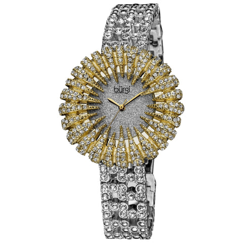Burgi Women's Dazzling Crystal Quartz Gold-Tone Watch - Gold