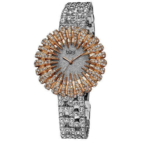 Burgi Women's Dazzling Crystal Quartz Rose-Tone Watch - Gold