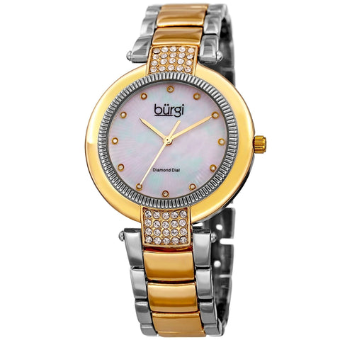 Burgi Women's Diamond Coin Edge Dial Crystal Lugs Two-tone Bracelet Watch
