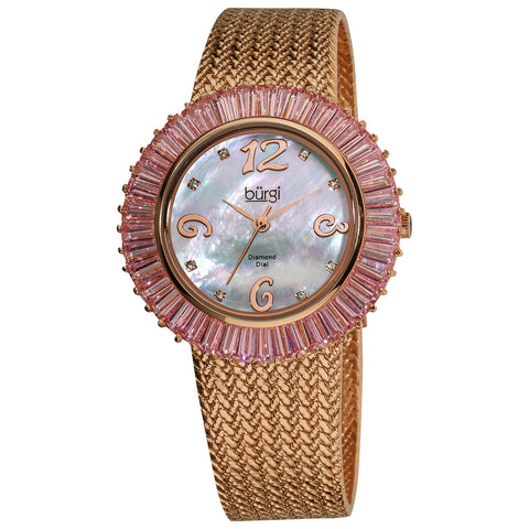 Burgi Women's Diamond and Baguette Pink Bracelet Watch - black