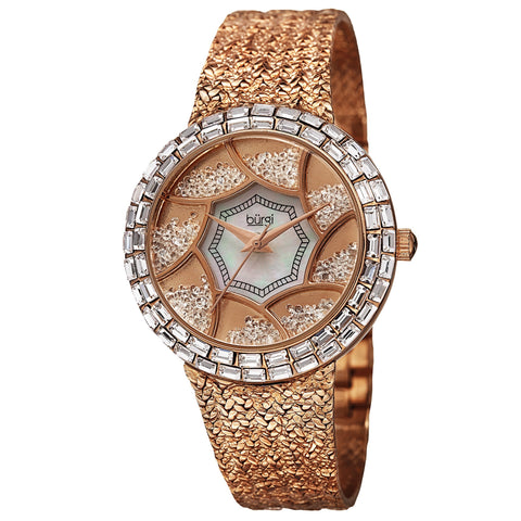 Burgi Women's Floating Crystals Quartz Brass Rose-Tone Bracelet Watch