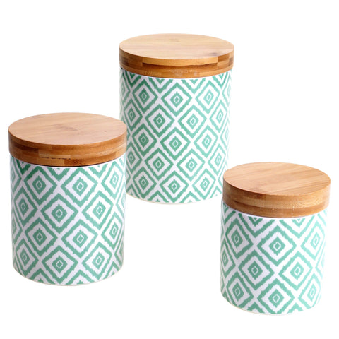 Certified International Chelsea Green Ikat 3-piece Canister Set with Bamboo Lids