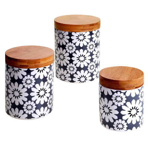 Certified International Chelsea Grey Floral 3-piece Canister Set, Bamboo Lids